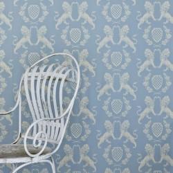 Heraldic Lion Wedgewood Blue Wallpaper