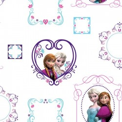 Disney Frozen Frames Pink, Blue & White Wallpaper