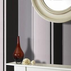 Spice Black and White Stripe Wallpaper