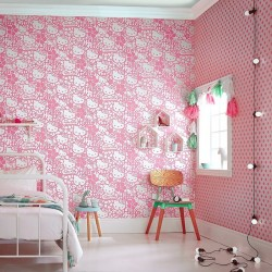 Hello Kitty Flock Pink Wallpaper
