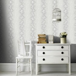 Snake Skin White and Silver Grey Wallpaper