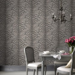 Tiger Skin Taupe Grey Wallpaper