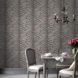Tiger Skin Taupe Grey Wallpaper