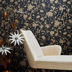 Botanic Charcoal Black and Gold Floral