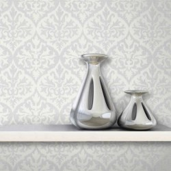 Sumatra Ikat Damask White and Silver