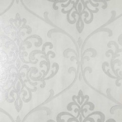 Ambrosia Glitter Damask White and Silver