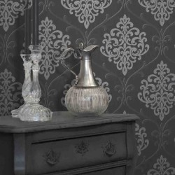 Ambrosia Glitter Damask Black and Silver