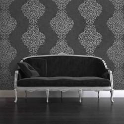 Lux Foil Damask Black