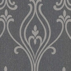 Luca Damask Black and Silver