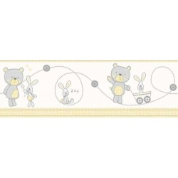 Bear and Boo Border Grey and Yellow