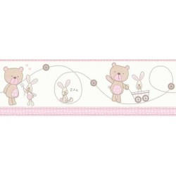 Bear and Boo Border Pink