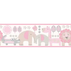 Jungle Friends Border Pink