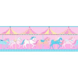 Carousel Border Pink and Blue