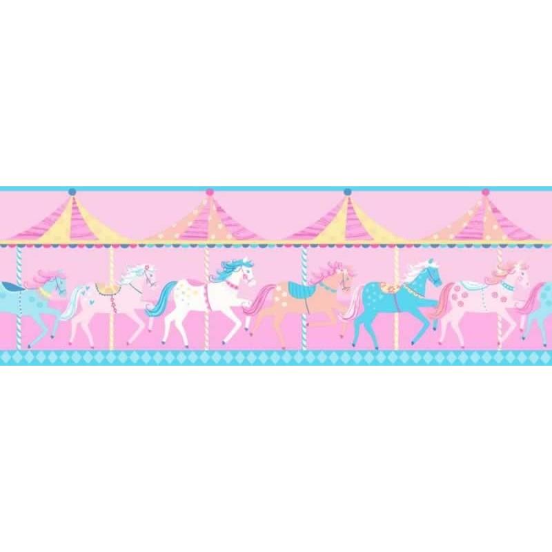Buy Carousel Blue Border Fd Dlb50080 Pink Kids Room Wallpaper
