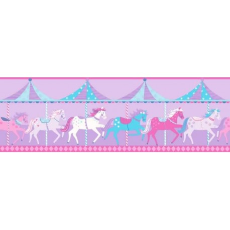 Buy Carousel Border Fd Dlb50081 Purple Kids Room Wallpaper
