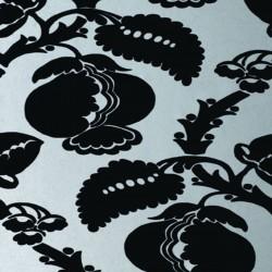 Eglantine Black & Silver Flock Wallpaper