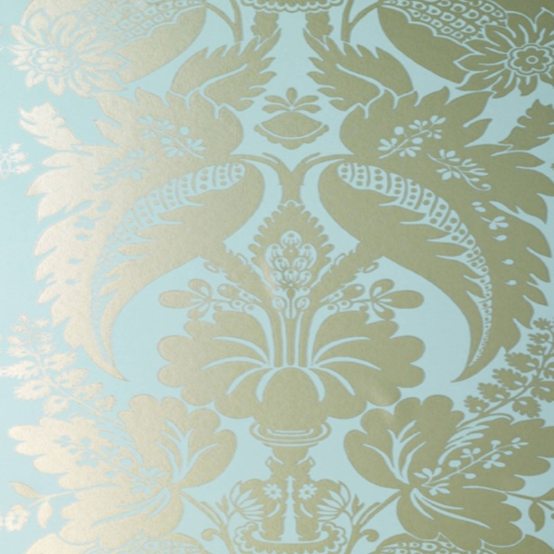 Fabulous Tyntesfield Silver-Gold on Blue Damask-AT10048-WP028 AE31