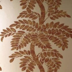 Wisteria Dark Red Gold Wallpaper