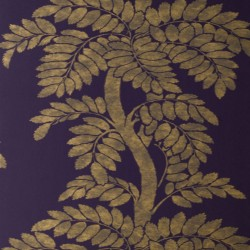 Wisteria Gold and Purple Wallpaper