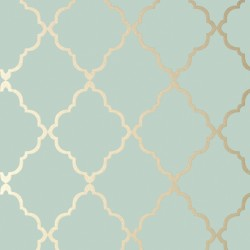 Klein Trellis Metallic Gold on Aqua Blue