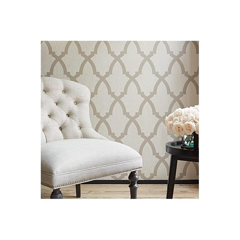 Neutral Trellis Wallpaper: Brock Trellis Neutral Beige-AF-AT6018