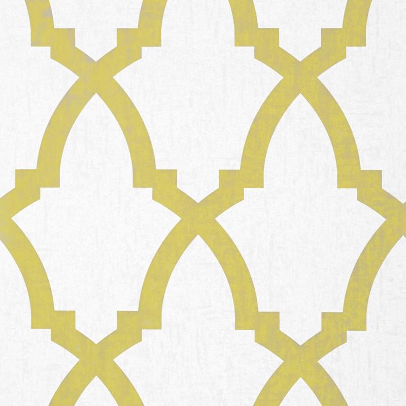 Yellow Trellis Wallpaper: Brock Trellis Citron Yellow And White-AF-AT6020