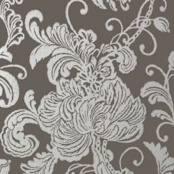 Verey Floral Damask Silver on Charcoal Grey