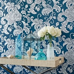 Verey Floral Damask Silver on Navy Blue