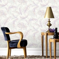 Gilded Feather Pink and Lilac Wallpaper