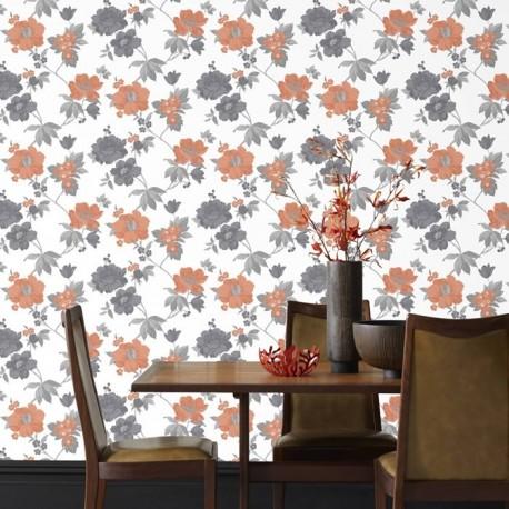 Eden Orange & Black Wallpaper