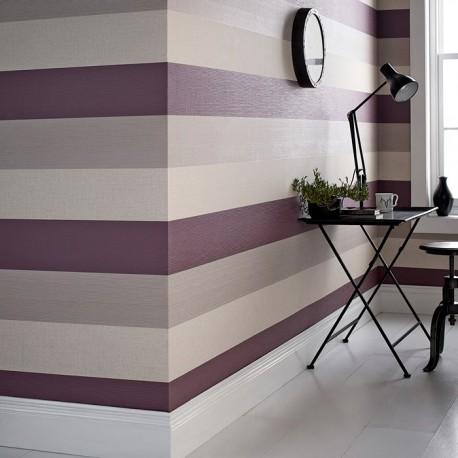 Java Plum Purple and Cream Wallpaper