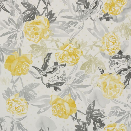 Roses Watercolour Golden Yellow And Grey 3900020