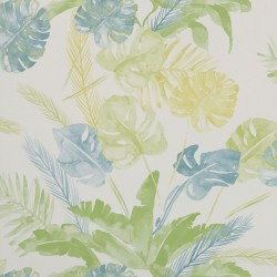 Jungle Watercolour Fresh Green and Blue Floral Wallpaper