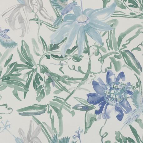 Flowers Watercolour Blue Wallpaper
