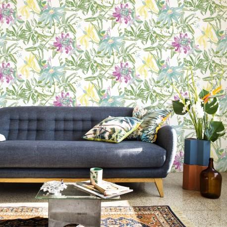 Flowers Watercolour Fresh Green Wallpaper