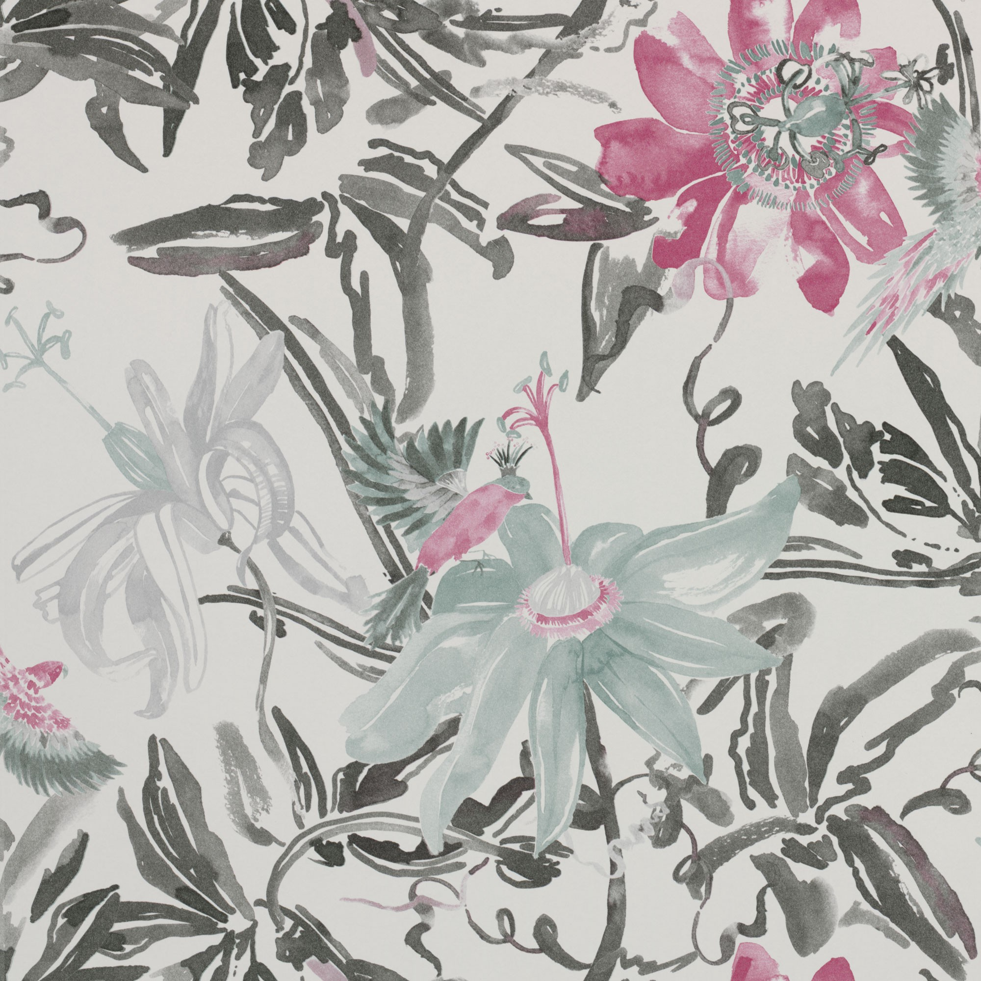 Flowers Watercolour Silver Grey And Pink 3900020