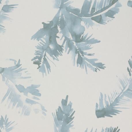 Palmeras Watercolour Blue Wallpaper
