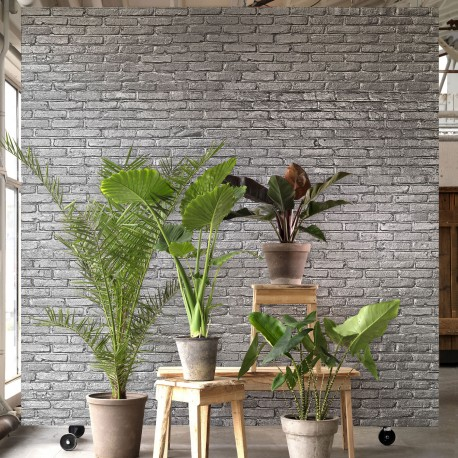 Silver Grey Brick Effect Wallpaper