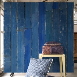 Blue Scrapwood Effect Wallpaper