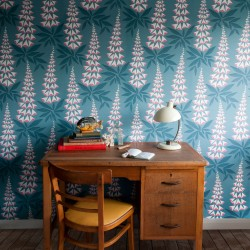 Foxglove Tiki Blue Grey Wallpaper