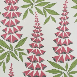 Foxglove Garden Red and Green Wallpaper