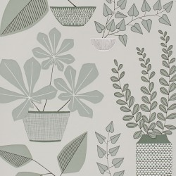 House Plants Brampton Grey Wallpaper