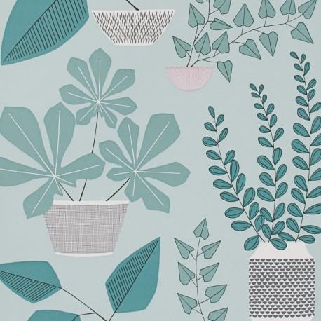 House Plants Marine Blue Wallpaper