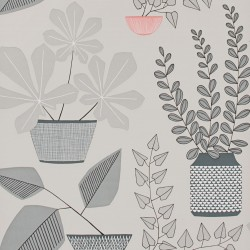 House Plants Pompeii Grey Wallpaper