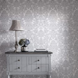 Montague Silver Grey Damask Wallpaper