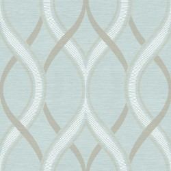 Frequency Teal Blue and Beige Wallpaper