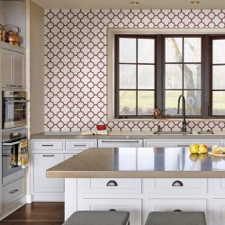 Origin Red and White Trellis Wallpaper