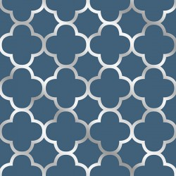 Origin Navy Blue and Silver Trellis Wallpaper
