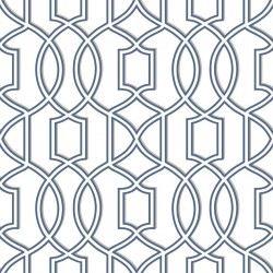 Quantum Navy Blue and White Trellis