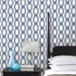 Infinity Navy Blue and White Wallpaper